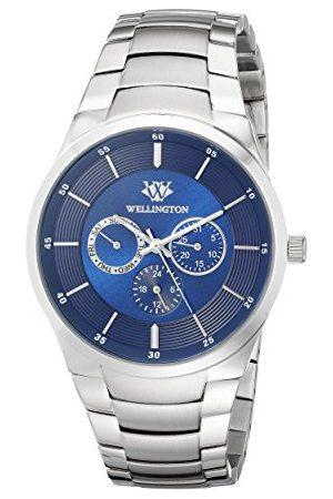Daniel Wellington Męski zegarek kwarcowy z niebieskim wyświetlaczem analogowym i srebrną bransoletką ze stali nierdzewnej WN601-131