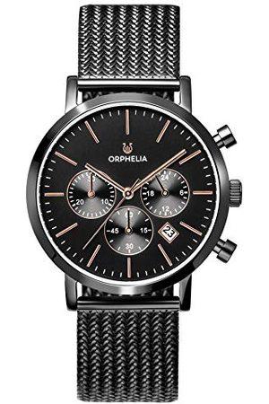 ORPHELIA Męski zegarek chronograf retro z opaską siatkową ze stali nierdzewnej Bransoletka Czarne/różowe złoto