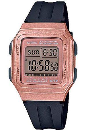 Casio Męski cyfrowy zegarek kwarcowy z bransoletką z żywicy Pasek Schwarz-rosegold