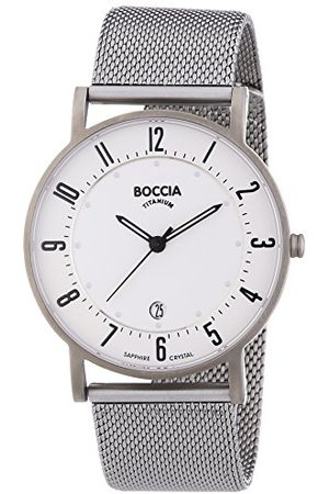 Boccia Męski zegarek kwarcowy z białą tarczą analogową i srebrną tytanową bransoletką B3533-04