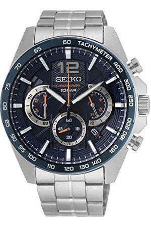 Seiko Chronograf męski zegarek stal szlachetna z metalowym paskiem SSB345P1