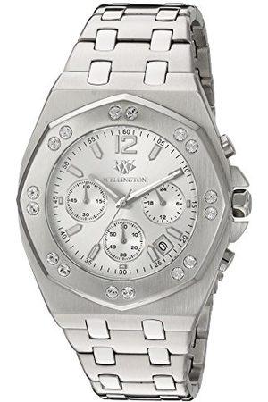 Daniel Wellington Darfield męski zegarek kwarcowy z czarną tarczą chronografu i srebrną bransoletą ze stali nierdzewnej WN511-111