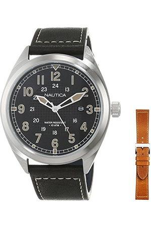 Nautica (NAVTJ) Męski analogowy zegarek kwarcowy ze skórzanym paskiem NAPBTP006
