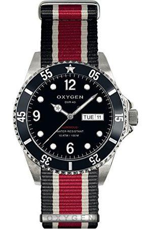 Oxygen Moby Dick 40 męski zegarek kwarcowy z czarną tarczą analogowy wyświetlacz i wielokolorowy nylonowy pasek EX-D-MOB-40-NN-BLIVRE