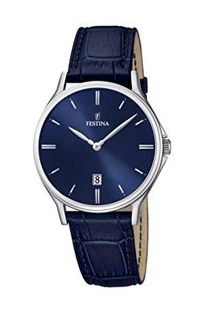 Festina Męski zegarek kwarcowy z niebieskim wyświetlaczem analogowym i niebieskim skórzanym paskiem F16745/3
