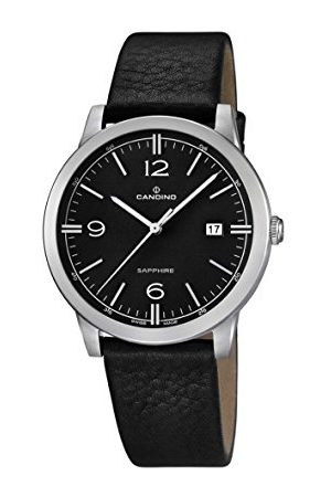 Candino Męski zegarek kwarcowy z czarnym wyświetlaczem analogowym i czarnym skórzanym paskiem C4511/4