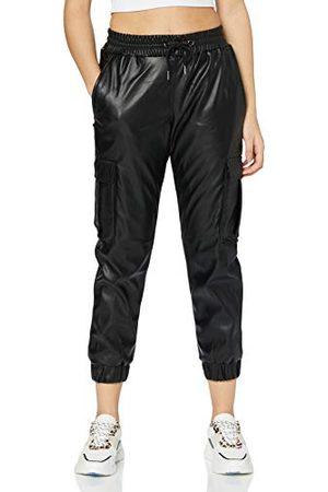 Urban classics Damskie spodnie cargo ze sztucznej skóry