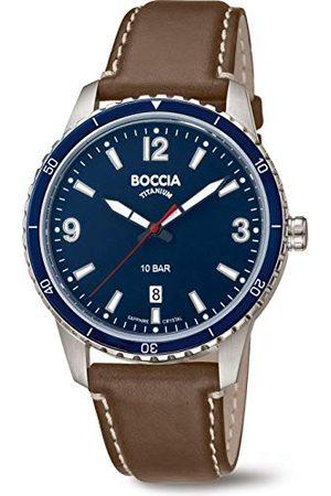 Boccia Męski analogowy kwarcowy zegarek z prawdziwej skóry pasek 3635-02
