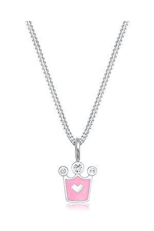 Elli 0104111217_36 łańcuszek dla dzieci z zawieszką w kształcie korony serce, srebro próby 925, emalia kryształowa, szlif brylantowy, 36 cm
