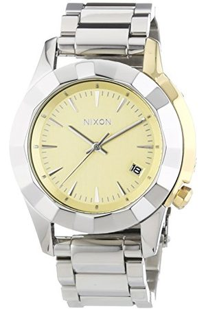 Nixon Męski zegarek na rękę XL Monarch Silver Light Gold analogowy kwarcowy stal szlachetna A2881431-00
