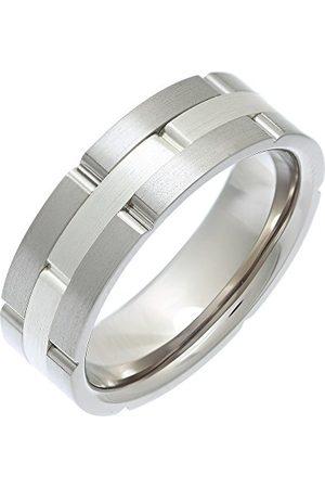 THEIA Tytanowa i srebrna inkrustacja płaski boisko matowy pierścień z cegły 7 mm e Tytan, K, colore: Metaliczny, cod. TH2871
