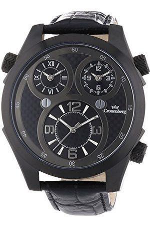 Cronenberg Męski analogowy zegarek kwarcowy ze skórzanym paskiem 12072W3