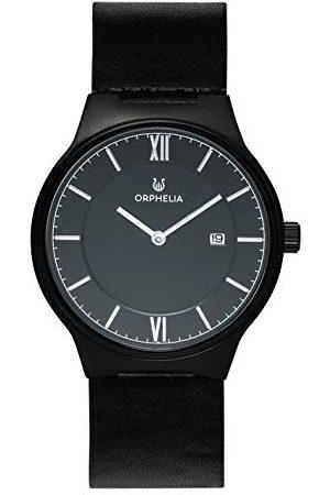 ORPHELIA Męski zegarek analogowy spokojny kwarcowy klasyczny wyświetlacz pasek Black/Black/Silver