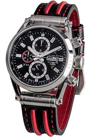 CARL VON ZEYTEN Męski analogowy automatyczny zegarek ze skórzanym paskiem CVZ0044BKRD
