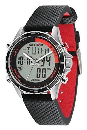 Sector No Limits Męski analogowo-cyfrowy zegarek kwarcowy ze skórzanym paskiem R3271615001