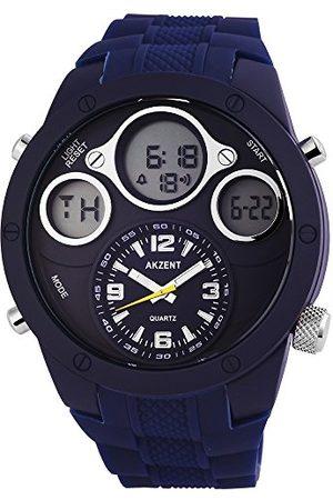 Akzent Męski analogowy cyfrowy zegarek kwarcowy z silikonowym paskiem SS909300001