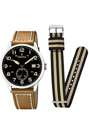 Festina F20347/6 męski analogowy zegarek kwarcowy ze skórzanym paskiem