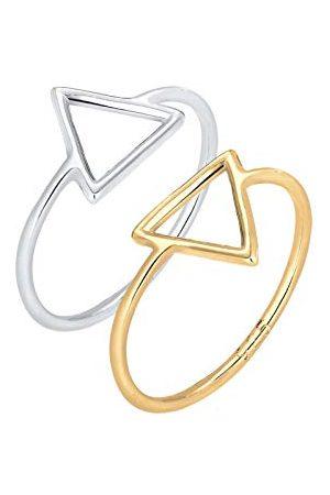 Elli Damski zestaw 925 srebro Sterling pierścionek w kształcie trójkąta e Srebro, O, colore: , cod. 0611211215_54