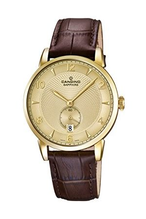 Candino Męski zegarek kwarcowy ze złotym wyświetlaczem analogowym i brązowym skórzanym paskiem C4592/4