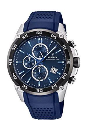 Festina The Originals Collection' męski zegarek kwarcowy z niebieskim wyświetlaczem chronografem tarczowym i niebieskim gumowym paskiem F20330/2