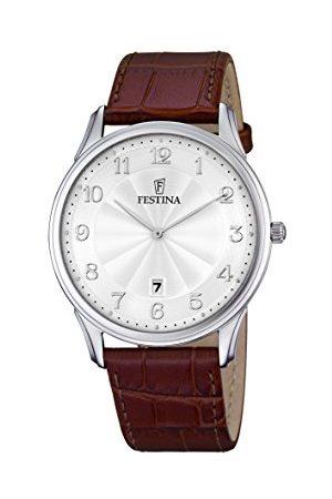 Festina CLASSIC męski zegarek kwarcowy ze srebrnym wyświetlaczem analogowym i brązowym skórzanym paskiem F6851/1