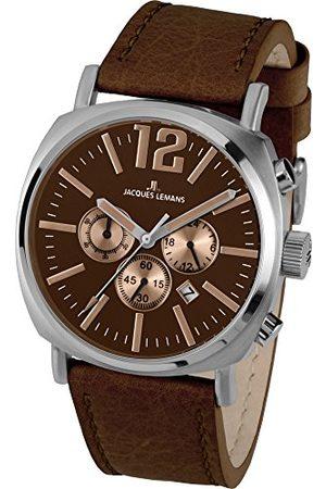 Jacques Lemans Zegarek męski Lugano skórzana bransoletka masywna stal szlachetna chronograf 1-1645G