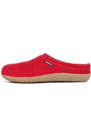 Giesswein Kapcie Veitsch – pantofle filcowe dla mężczyzn i kobiet, skórzane wkładki, ciepłe kapcie unisex, czerwony - Chilli - 45 EU