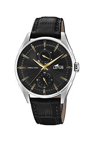 Lotus Męski multicyferblat kwarcowy zegarek ze skórzanym paskiem 18523/4