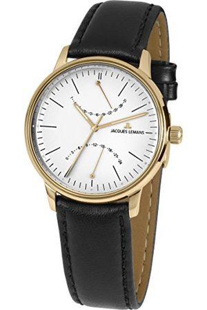 Jacques Lemans Męski analogowy zegarek kwarcowy ze skórzanym paskiem N-218C