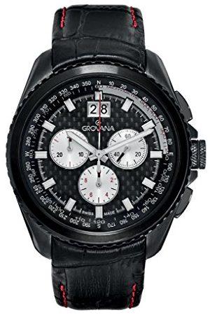 Grovana 1621.9577 męski kwarcowy szwajcarski zegarek z czarną tarczą chronografu i czarnym skórzanym paskiem