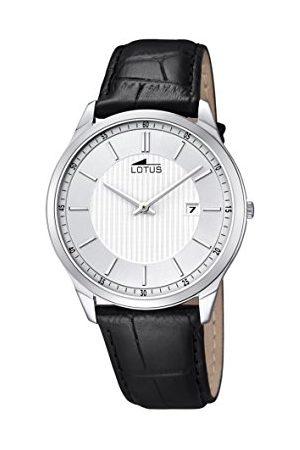 Lotus Lotos męski zegarek kwarcowy z białym wyświetlaczem analogowym i czarnym skórzanym paskiem 10124/2