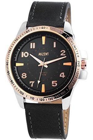 Akzent Męski analogowy zegarek kwarcowy ze skórzanym paskiem SS7541500010