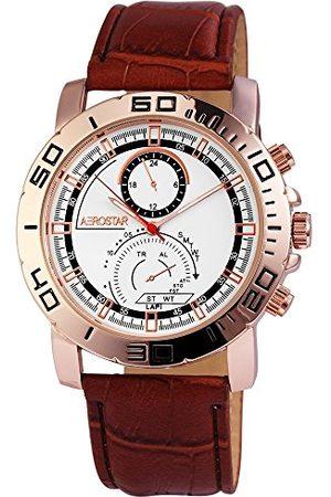 Aerostar Męski analogowy zegarek kwarcowy z imitacji skóry 21103200003