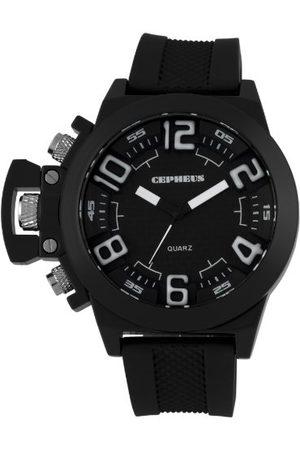 CEPHEUS Męski zegarek kwarcowy z czarnym wyświetlaczem analogowym i czarnym silikonowym paskiem CP901-622A