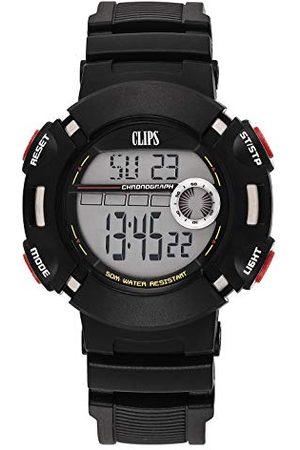CLIPS Klipsy męski zegarek kwarcowy z szarą tarczą i czarnym gumowym paskiem 557-6010-44