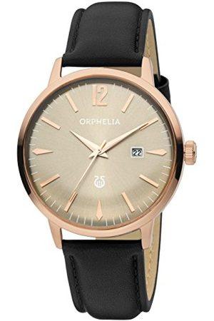 ORPHELIA Męski zegarek na rękę Zoom analogowy kwarcowy skóra Pasek ró?owe z?oto