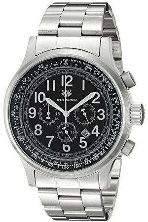 Daniel Wellington Męski zegarek kwarcowy z czarną tarczą chronografu i czarną bransoletą ze stali nierdzewnej WN302-121