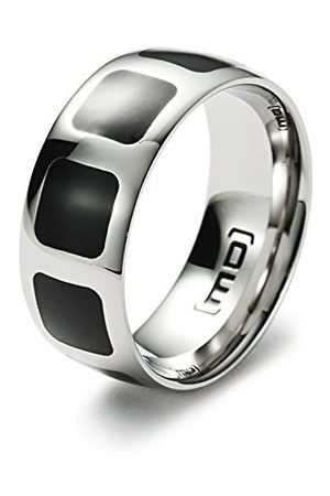 Monomania 25561 męski pierścionek ze stali nierdzewnej z wkładką z żywicy szlachetnej czarny e stal szlachetna, 49 cm (15,6 cala), cod. 25561-49