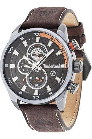 Timberland Henniker II męski zegarek kwarcowy z czarnym wyświetlaczem analogowym i ciemnobrązowym skórzanym paskiem 14816JLU/02A