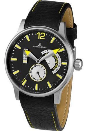 Jacques Lemans Męski zegarek na rękę XL analogowy kwarcowy skóra 1-1741J