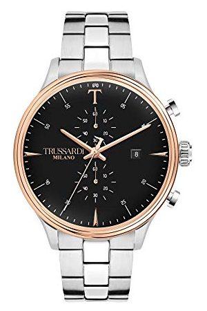 Trussardi Męski analogowy zegarek kwarcowy z paskiem ze stali nierdzewnej R2473630002