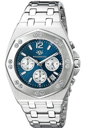 Daniel Wellington Darfield męski zegarek kwarcowy z niebieskim wyświetlaczem chronografu i srebrną bransoletką ze stali nierdzewnej WN511-131