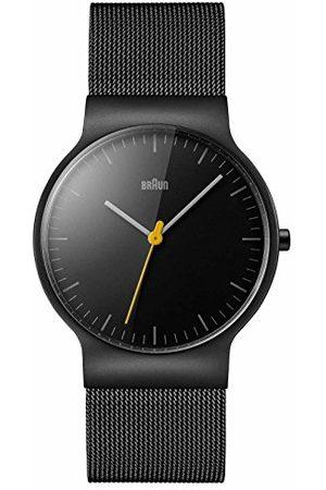 von Braun Męski zegarek kwarcowy z czarnym wyświetlaczem analogowym i czarną bransoletą ze stali nierdzewnej BN0211BKMHG
