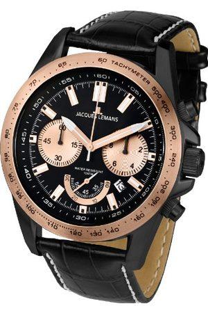 Jacques Lemans Męski chronograf kwarcowy zegarek ze skórzanym paskiem 1-1756F