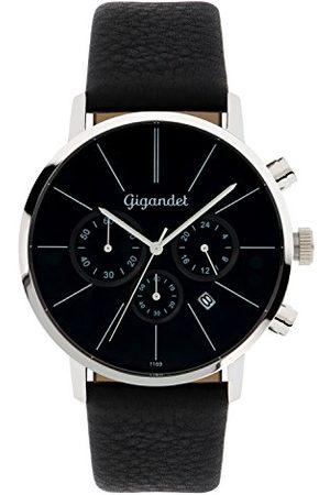 Gigandet G32-002 męski zegarek z czarnym skórzanym paskiem