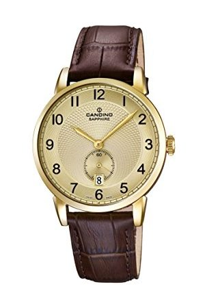 Candino Męski zegarek kwarcowy ze złotym wyświetlaczem analogowym i brązowym skórzanym paskiem C4592/3