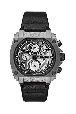 Police Policja męski wielofunkcyjny zegarek kwarcowy ze skórzanym paskiem PL.15472JSU/61