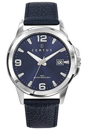 Certus Męski analogowy zegarek kwarcowy ze skórzanym paskiem 61113
