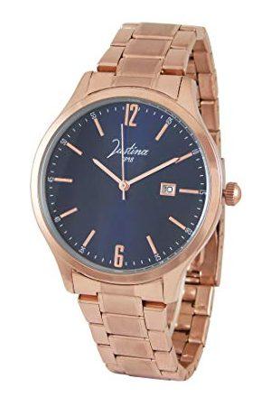 JUSTINA Męski analogowy zegarek kwarcowy z bransoletką ze stali szlachetnej 13740A