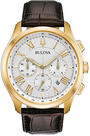 BULOVA Męski chronograf kwarcowy zegarek ze skórzanym paskiem 97B169